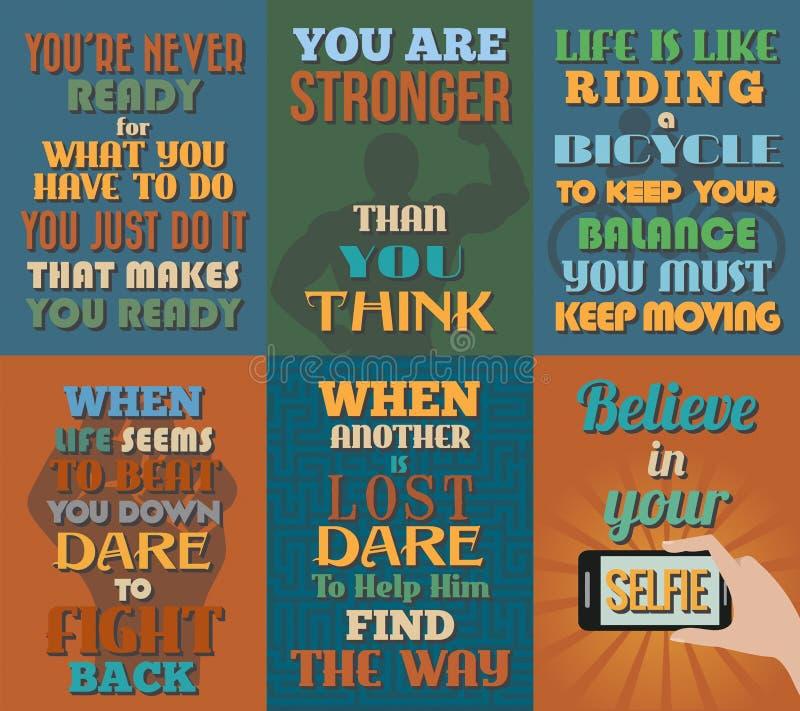 Niezwykli motywacyjni i inspiracyjni wycena plakaty Set 12 ilustracja wektor