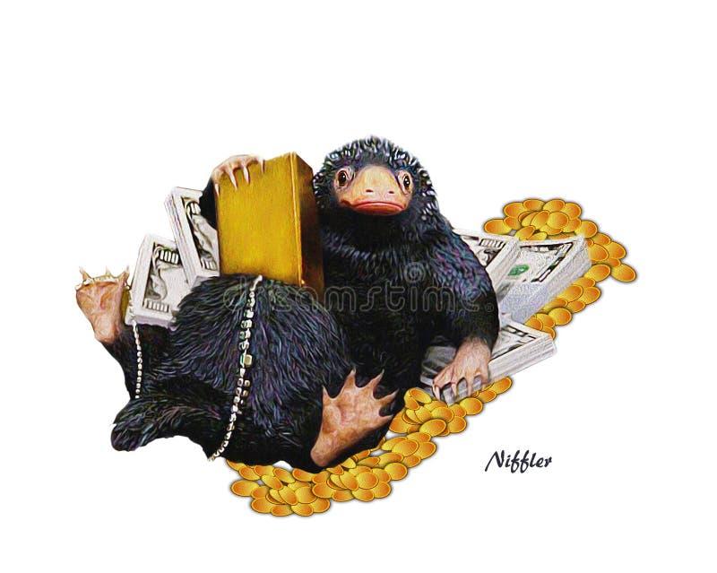 Niffler, illustratie een Niffler & geld Beeld op transrarent achtergrond royalty-vrije stock foto's