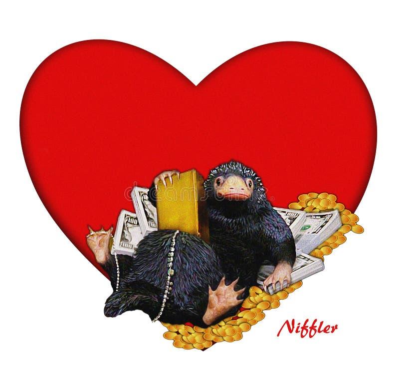 Niffler, ilustração cômica, engraçada, bonito a Niffler & dinheiro & coração Imagem com contexto vermelho do coração Ilustração d imagens de stock royalty free