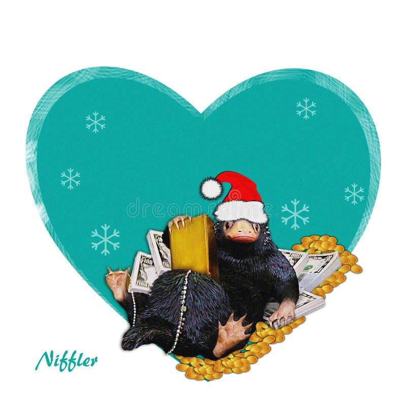 Niffler - santa, ejemplo cómico, divertido, lindo a Niffler y dinero Imagen el invierno, contexto del Año Nuevo Ejemplo de la Nav fotos de archivo