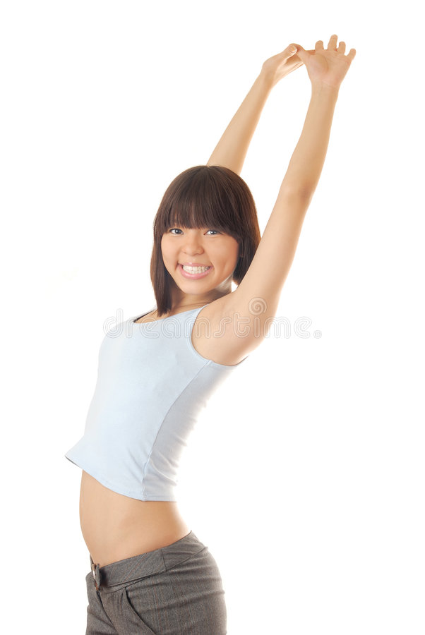 Nifty model. Photo of happy nifty model on a white background stock photography