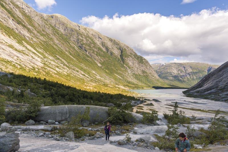 Nigardsbreen glaci?r i Laerdal fotografering för bildbyråer