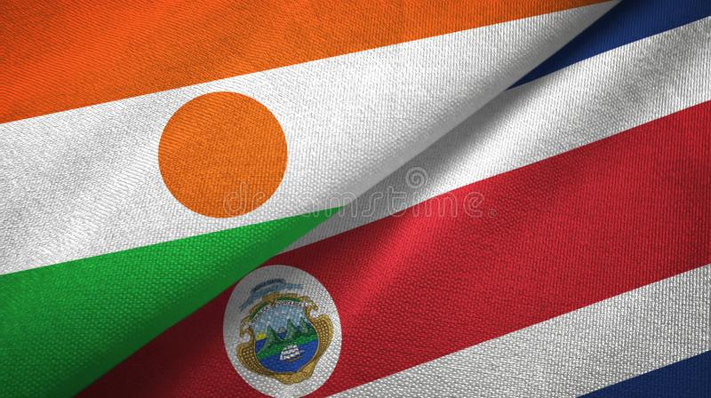 Niger and Costa Rica two flags textile cloth, fabric texture stock illustration
