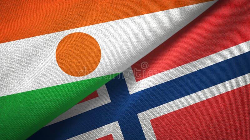 Niger en Noorwegen twee vlaggen textieldoek, stoffentextuur vector illustratie