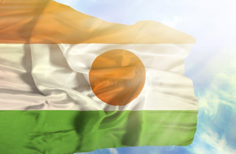 Niger falowania flaga przeciw niebieskiemu niebu z sunrays zdjęcie stock