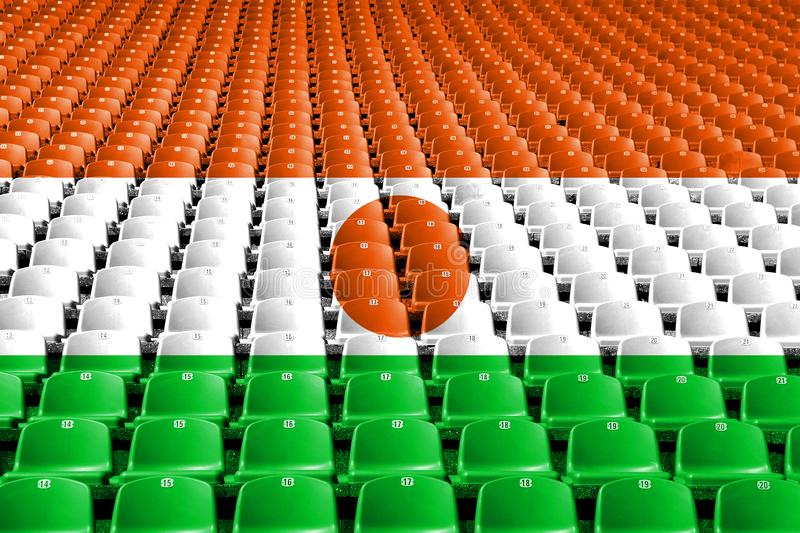 Niger flag stadium seats. Sports competition concept. Niger flag stadium seats. Sports competition concept stock photo