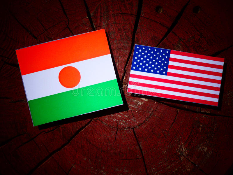 Niger flag with USA flag on a tree stump stock photography