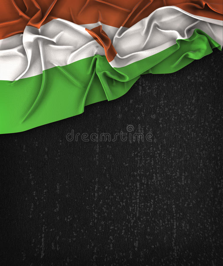 Niger Flag Vintage on a Grunge Black Chalkboard With Space For T stock photo