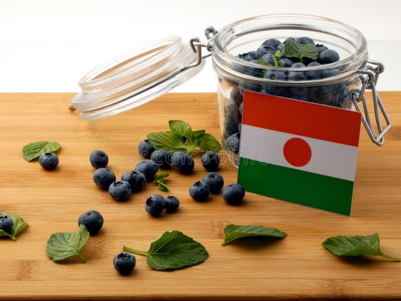 Niger flaga na drewnianej desce z czarnymi jagodami na bielu zdjęcie stock