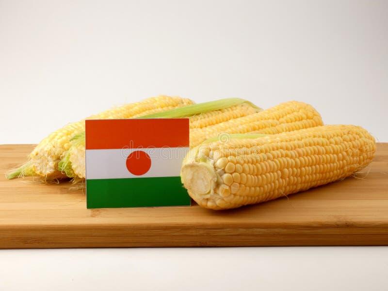 Niger flaga na drewnianym panelu z kukurudzą odizolowywającą na białym backg obrazy royalty free