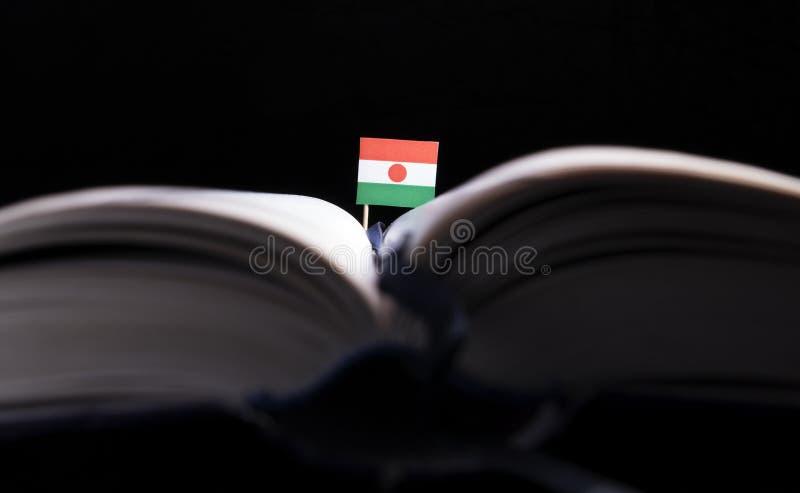 Niger flaga po środku książki Wiedza co i edukacja zdjęcie stock