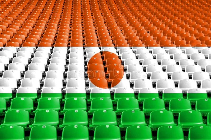 Niger flaga stadium siedzenia Sport rywalizaci pojęcie zdjęcie stock