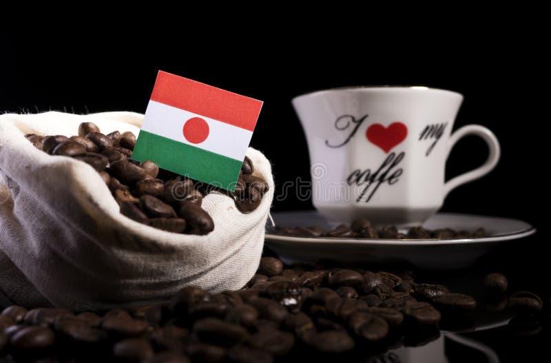 Niger flaga w torbie z kawowymi fasolami na czerni obraz stock