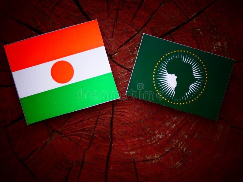 Niger flaga z Afrykańską Zrzeszeniową flaga na drzewnym fiszorku obrazy stock