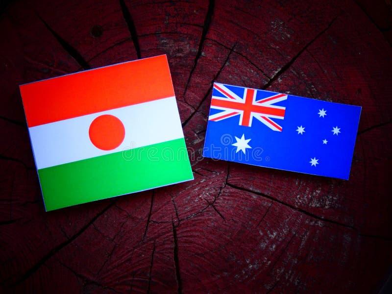 Niger flaga z australijczyk flaga na drzewnym fiszorku odizolowywającym fotografia stock