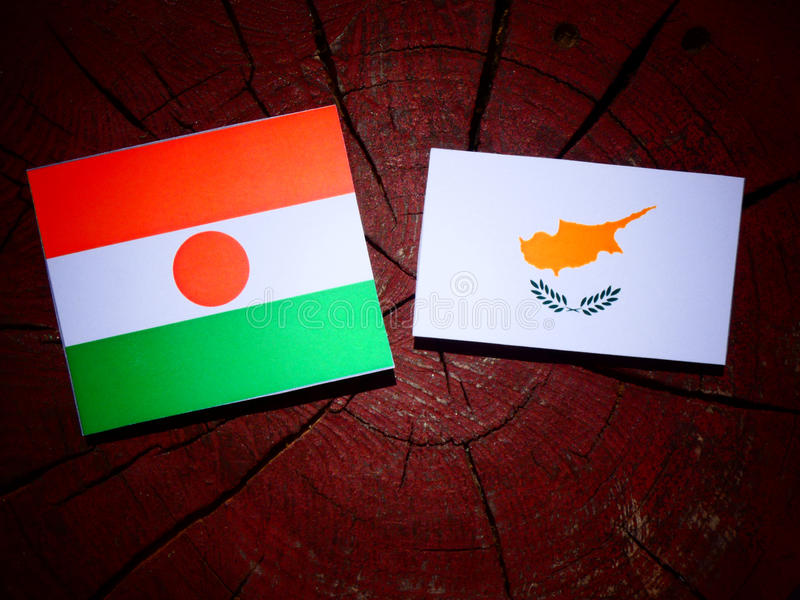 Niger flaga z cypryjczyk flaga na drzewnym fiszorku odizolowywającym zdjęcie royalty free