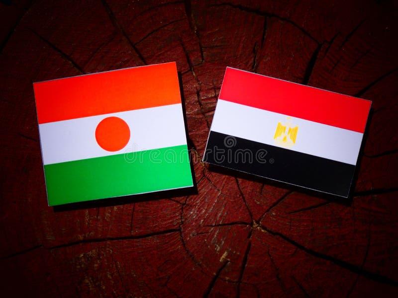 Niger flaga z egipcjanin flaga na drzewnym fiszorku fotografia royalty free