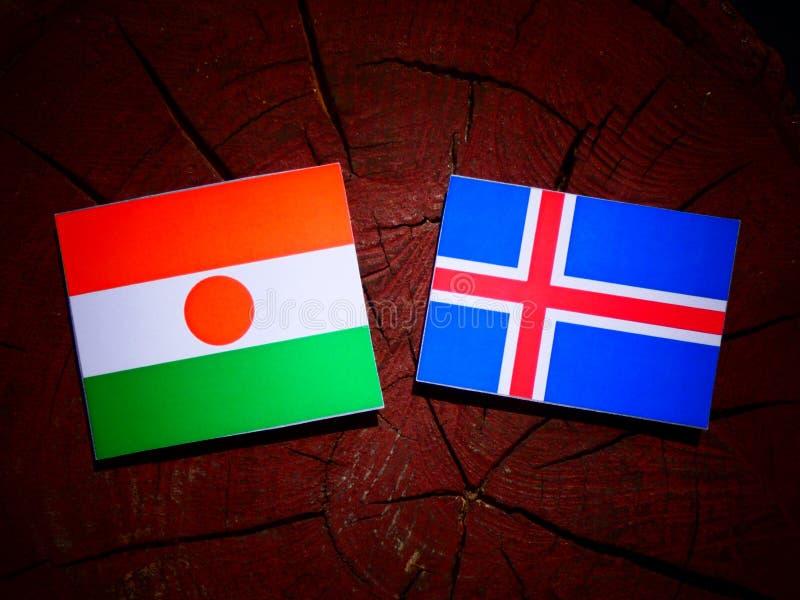 Niger flaga z Islandzką flaga na drzewnym fiszorku odizolowywającym obraz royalty free