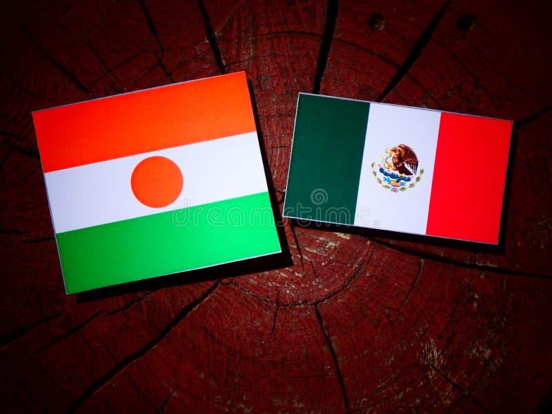 Niger flaga z Meksykańską flaga na drzewnym fiszorku odizolowywającym fotografia royalty free