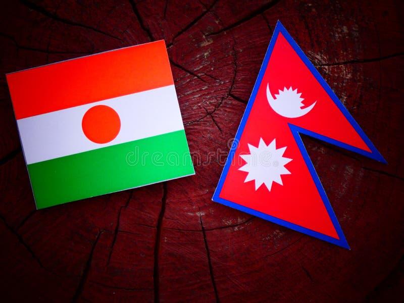 Niger flaga z Nepalską flaga na drzewnym fiszorku odizolowywającym zdjęcie stock