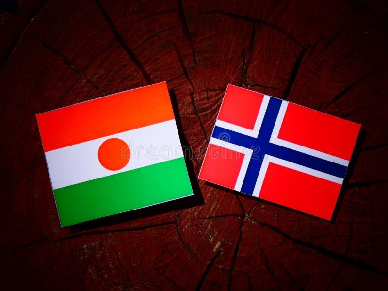 Niger flaga z norweg flaga na drzewnym fiszorku odizolowywającym zdjęcia stock