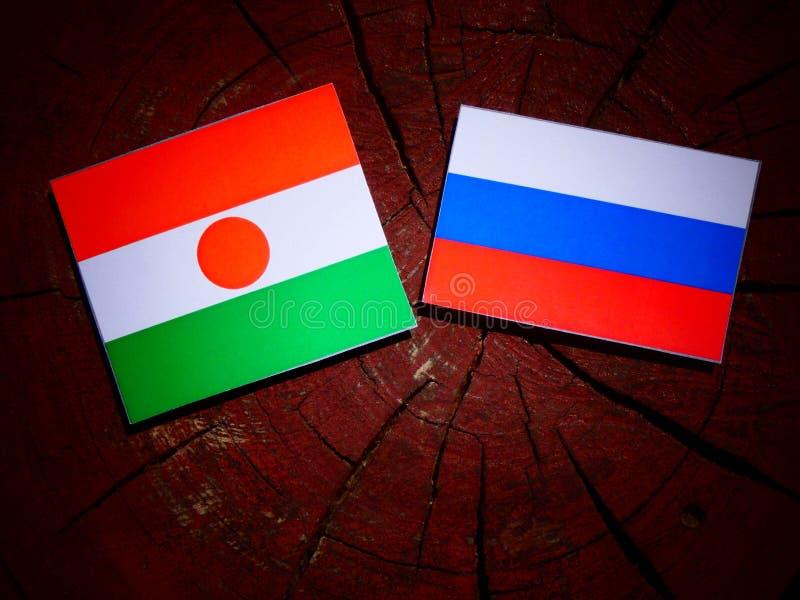 Niger flaga z rosjanin flaga na drzewnym fiszorku fotografia royalty free