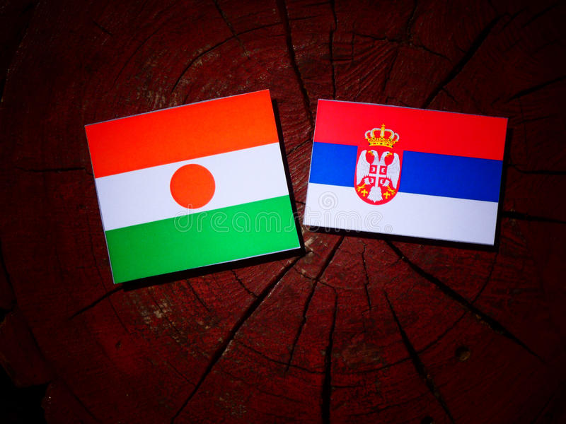 Niger flaga z serb flaga na drzewnym fiszorku obraz stock
