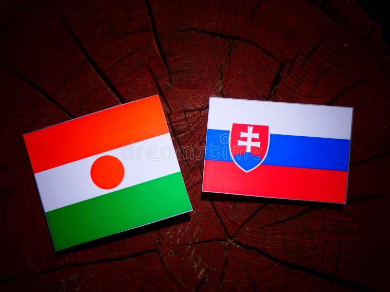 Niger flaga z Slovakian flaga na drzewnym fiszorku odizolowywającym obrazy stock