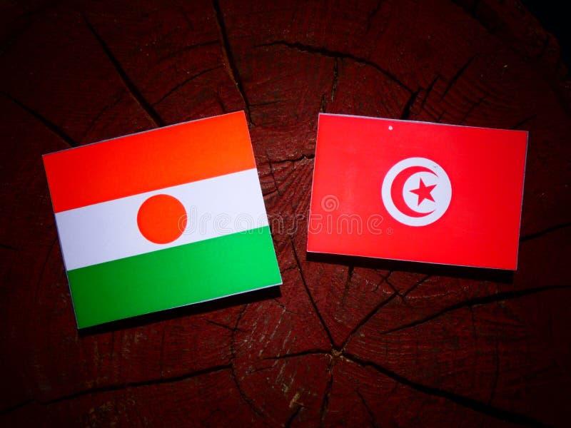 Niger flaga z tunezyjczyk flaga na drzewnym fiszorku odizolowywającym obraz stock