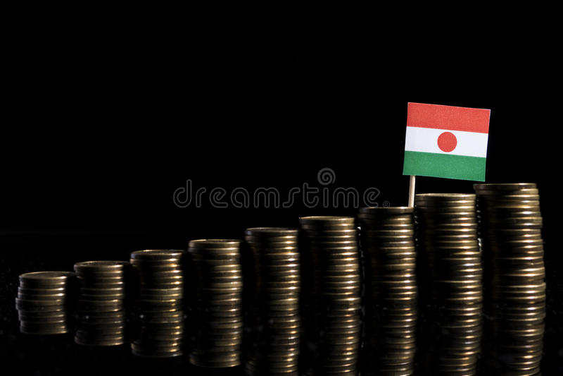 Niger flaga z udziałem monety na czerni obraz royalty free