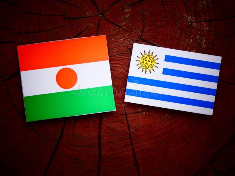 Niger flaga z Uruguaian flaga na drzewnym fiszorku odizolowywającym zdjęcie stock