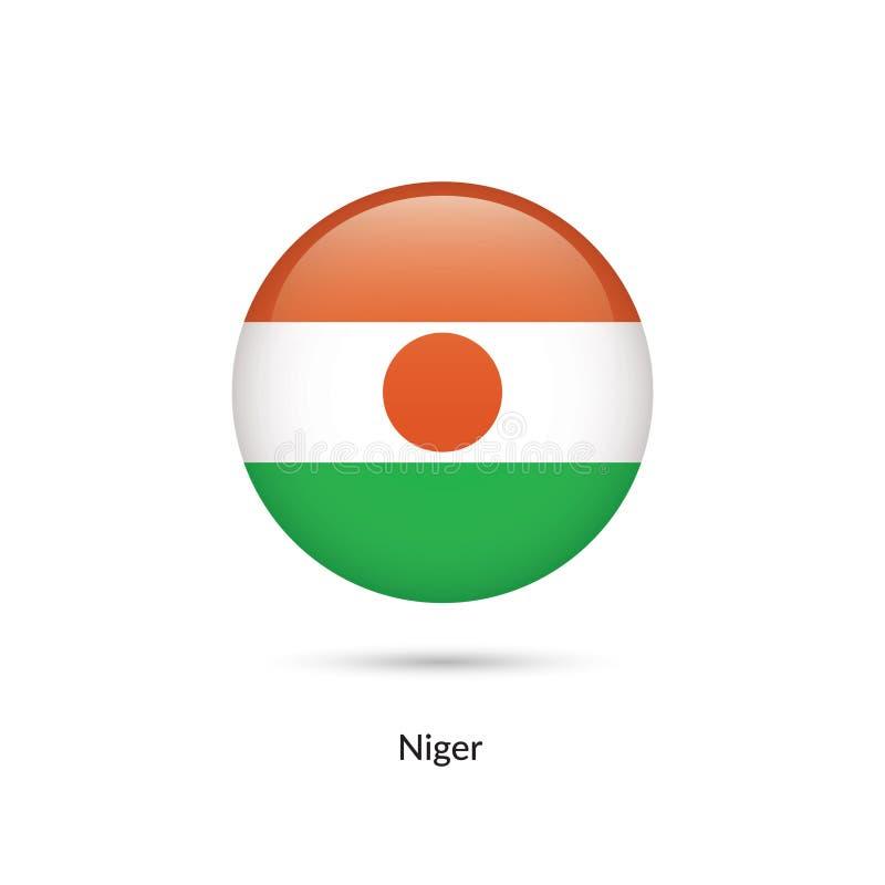 Niger flagga - rund glansig knapp vektor illustrationer