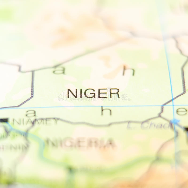 Niger kraj na mapie obrazy stock