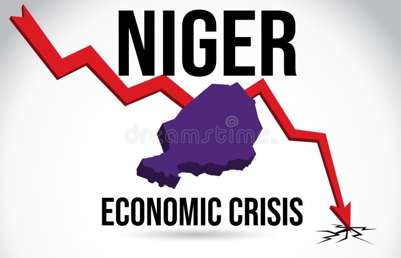 Niger Map Financial Crisis Economic Collapse Market Crash Global Meltdown Vector. Illustration royalty free illustration