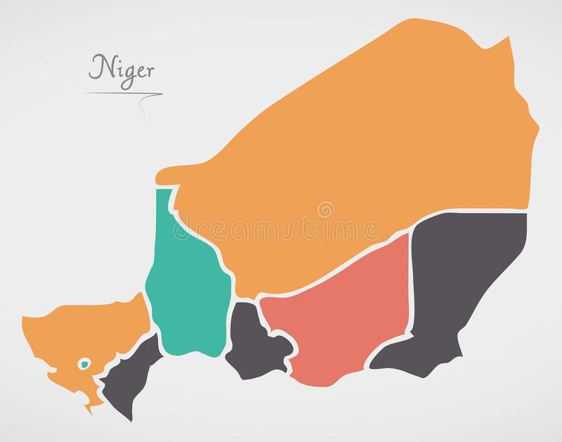 Niger Map with states and modern round shapes. Illustration vector illustration