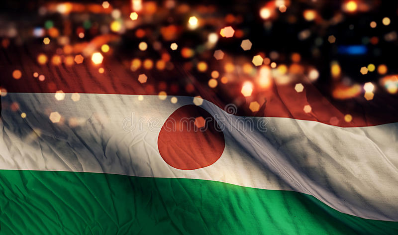 Niger National Flag Light Night Bokeh Abstract Background stock photography