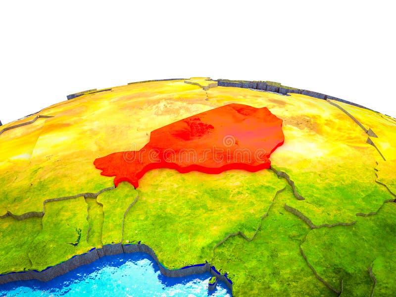 Niger op 3D Aarde royalty-vrije illustratie
