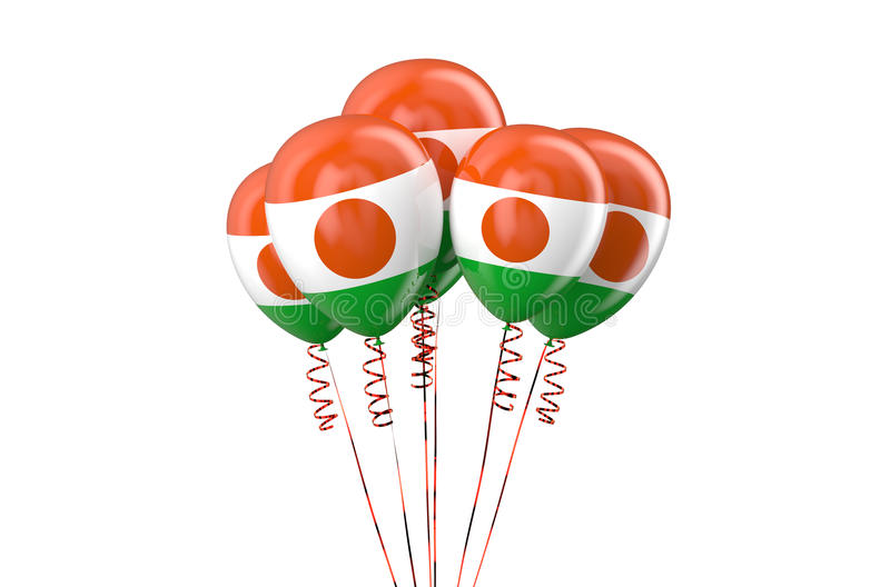 Niger patriotic balloons holyday concept. Niger patriotic balloons, holyday concept isolated on white background stock illustration