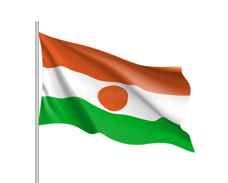Niger realistisk flagga stock illustrationer