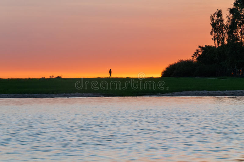 Niger. Sunset from the Niger River at Djenne, Mali stock photo
