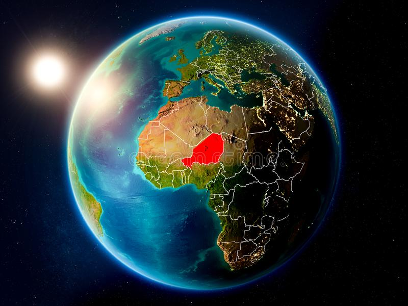 Niger with sunset from space. Sunset above Niger highlighted in red on planet Earth with visible country borders. 3D illustration. Elements of this image stock image