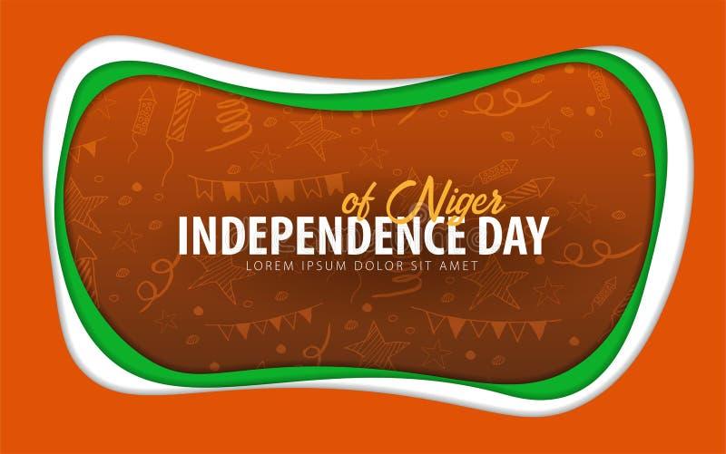 niger Tarjeta de felicitación del Día de la Independencia estilo del corte del papel libre illustration