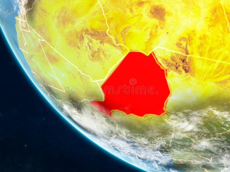 Niger van ruimte ter wereld stock illustratie