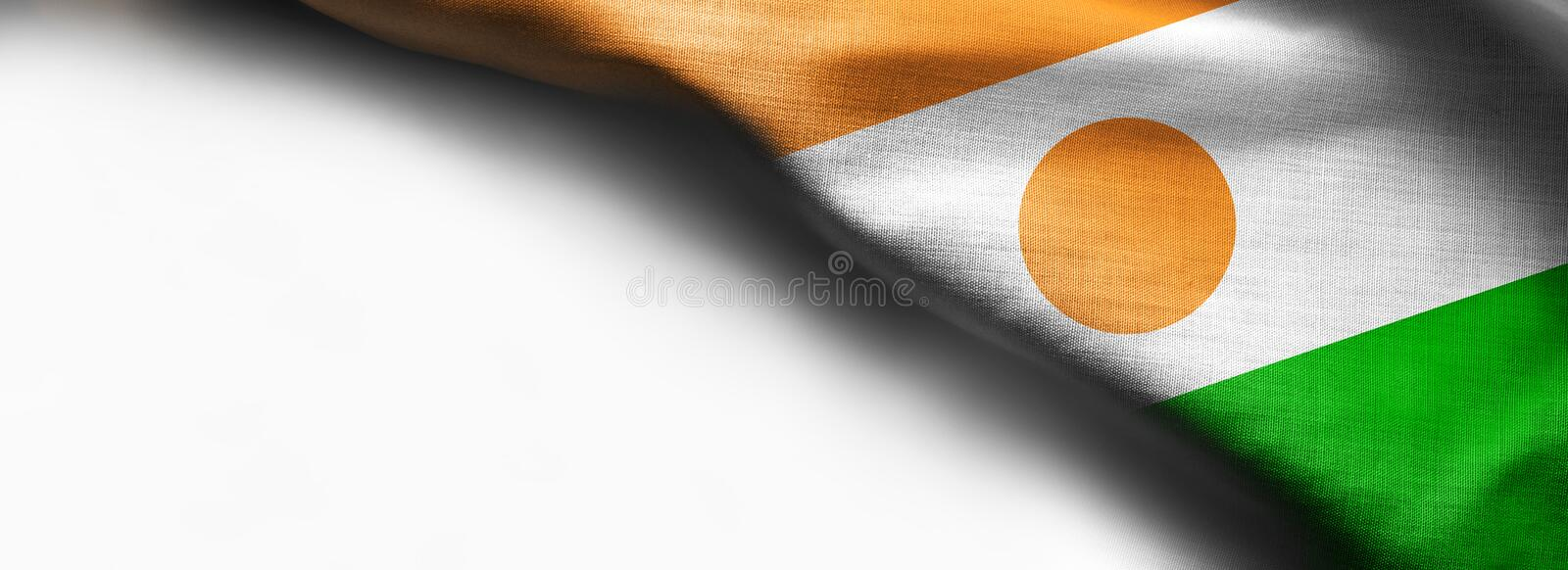 Niger waving flag on white background. Right top corner flag royalty free stock photography