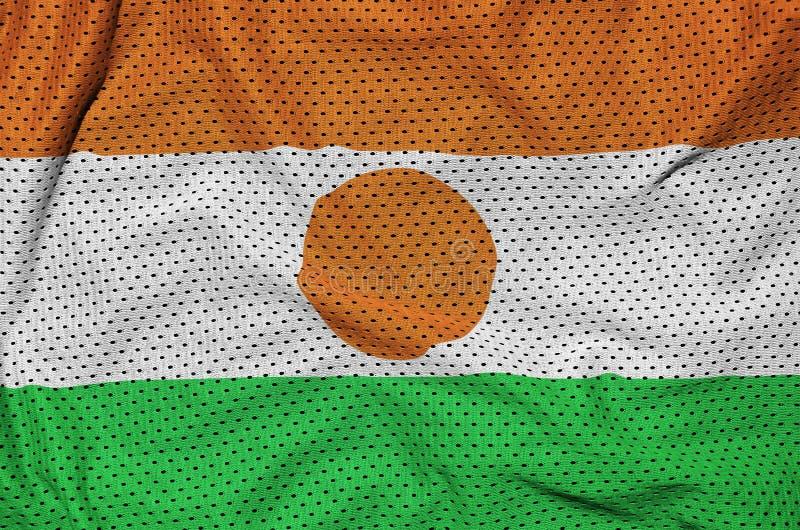 Niger zaznacza drukowanego na poliestrowej nylonowej sportswear siatki tkaninie w obrazy royalty free