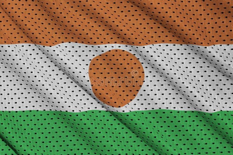 Niger zaznacza drukowanego na poliestrowej nylonowej sportswear siatki tkaninie w zdjęcie royalty free
