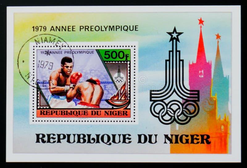 Niger znaczek pocztowy pokazuje boks, olimpijski roku seria około 1979, zdjęcie royalty free