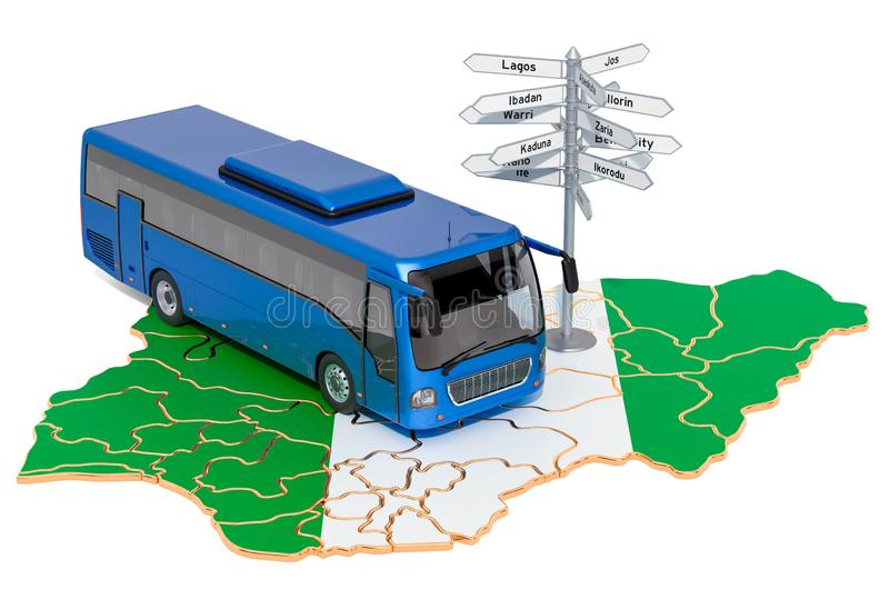 Nigeria Bus Tours concept. 3D rendering. Isolated on white background vector illustration