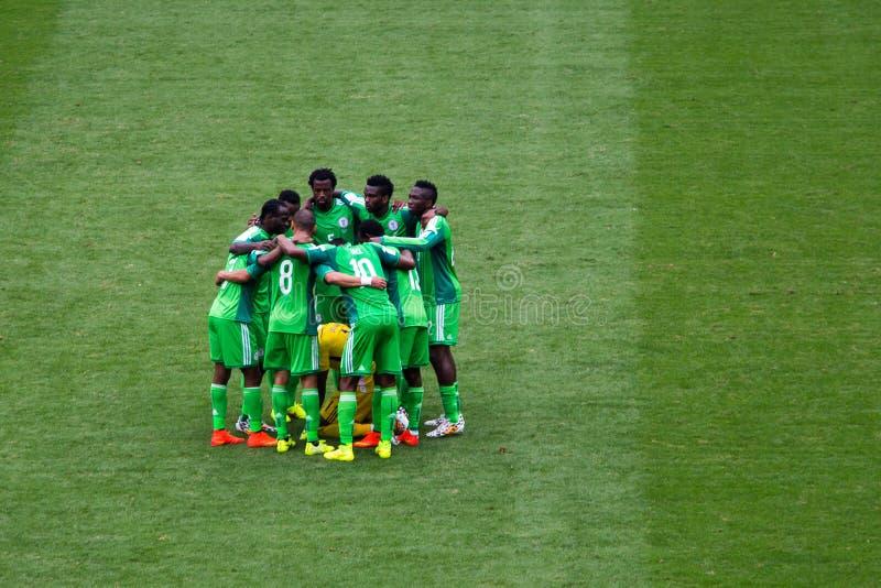 Nigeria drużyna przy FIFA pucharem świata Brazylia 2014 obrazy royalty free