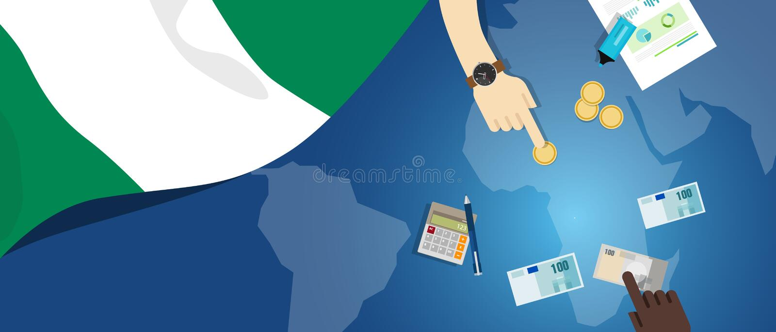 Nigeria economy fiscal money trade concept illustration of financial banking budget with flag map and currency. Vector royalty free illustration